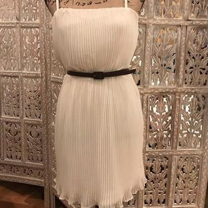 Pleated Off White Dress with Brown Belt
